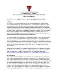 Faculty Positions at Climate Science Center (Texas Tech University)