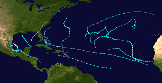 2013 Hurricane Tracks